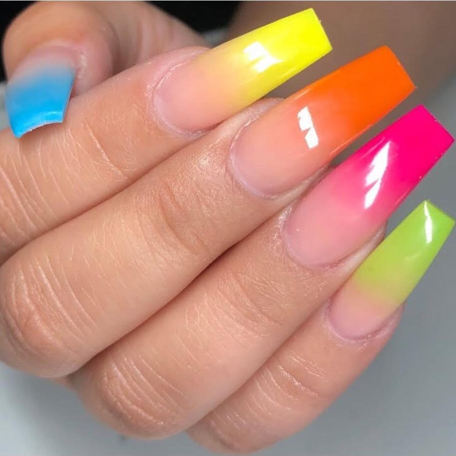 multi colour ombre design on long coffin shape nails with gel on top