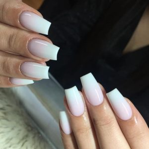 coffin shape ombre nail extensions
