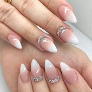 pointed white ombre with gems design
