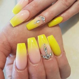 yellow ombre nail design